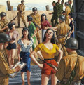 Pulp, Pulp-like, Digests, and Paperback Art, MORT KÜNSTLER (American b. 1931). The Marines Who Manned aGeisha Prison Boat, For Men Only cover, June, 1961. Gouacheo...