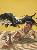 Pulp, Pulp-like, Digests, and Paperback Art, MORT KÜNSTLER (American b. 1931). Staked Out In The Desert, TrueAdventures Cover, March 1957. Gouache on board. 24 x 18...