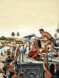 MORT KÜNSTLER (American b. 1931) Fight For the Gunboat, Male or Stag cover, circa 1962 Gouache on bo