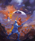 Pulp, Pulp-like, Digests, and Paperback Art, PAUL LEHR (American 1930 - 1998). Starship Warriors, paperbackcover, 1984. Acrylic and oil on board. 18 x 16 in.. Signe...