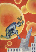 Pulp, Pulp-like, Digests, and Paperback Art, HANNES BOK (American 1914 - 1964). Into the Fourth Dimension,Science Fiction Quarterly #5 cover, Winter, 1942. Oil on p...