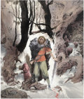 Pulp, Pulp-like, Digests, and Paperback Art, CHARLES VESS (American b.1951). Raven Song, 1989. Watercoloron paper. 16 x 13.5 in.. Signed lower right. ...
