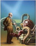 Pulp, Pulp-like, Digests, and Paperback Art, BARCLAY SHAW (American b.1949). The Remaking of SigmundFreud, 1984. Acrylic on paper. 20 x 16 in.. Signed lower leftwi... (Total: 2 Items)