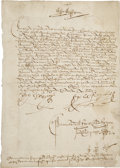 "Autographs:Non-American, King Ferdinand II and Queen Isabella I 1492 Document Signed ""Yo el Rey"" (the King) and ""Yo la Reyna"" (the Queen), on..."
