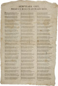 "Autographs:Statesmen, 1811 Patriotic Poem Broadside, ""New-Year's Gift/ Addressed to thePatrons of the New Hampshire Patriot"". One page, 13"" x 20""..."
