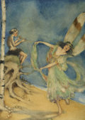 Pulp, Pulp-like, Digests, and Paperback Art, FRANCES COMSTOCK (American b.1881). Fairy Dancing, circa1920s. Watercolor on paper. 17 x 12 in.. Signed lower left. ...