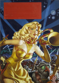 ALLEN ANDERSON (American 1908 - 1995) War Maid of Mars, Planet Stories cover, May 1953 Oil on board<