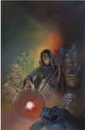Pulp, Pulp-like, Digests, and Paperback Art, RICHARD CORBEN (American b.1940). Grey Star the Wizard,paperback cover, 1986. Oil on board. 30 x 20 in.. Signed lowerr...
