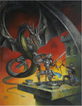 Pulp, Pulp-like, Digests, and Paperback Art, CLYDE CALDWELL (American 20th Century). Dragon Attack, Dragonmagazine #72 cover, April 1983. Oil on board. 22 x 17 in....