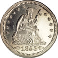 Proof Seated Quarters, 1853 25C Arrows and Rays PR66 Cameo NGC....