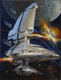 Pulp, Pulp-like, Digests, and Paperback Art, JOHN BERKEY (American 1932 - 2008). Chronicles of the Lensman,book cover, 1995. Casein and acrylic on board. 22 x 16.5 ...(Total: 2 Items)