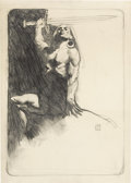 Mainstream Illustration, JEFFREY JONES (American b.1944). Conan, study for a FantasticMagazine cover, 1972. Pencil on paper. 17 x 12 in.. Signed...