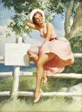Pin-up and Glamour Art, HADDON SUNDBLOM (American 1899 - 1976). Untitled. Oil oncanvas. 46 x 33.5 in.. Signed lower left. ...