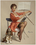 Pin-up and Glamour Art, GIL ELVGREN (American 1914 - 1980). Doggone Good (PuppyLove), 1959. Oil on canvas. 30 x 24 in.. Signed lower right....