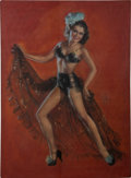 ZOE MOZERT ( American 1904 - 1993) Pin up illustration Pastel on board 32.5 x 23.5 in. Signed