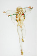 Paintings, ALBERTO VARGAS (American 1896 - 1982). Vargas Girl, Playboy pin up illustration, August 1967. Watercolor on paper. 18.5 ...