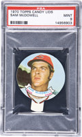 Baseball Cards:Singles (1970-Now), 1970 Topps Candy Lids Sam McDowell PSA Mint 9....