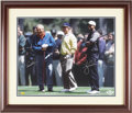 Golf Collectibles:Autographs, Circa 2008 Arnold Palmer, Jack Nicklaus & Tiger Woods SignedLarge UDA Photograph....