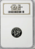 Proof Roosevelt Dimes, 1952 10C PR68 W Cameo NGC. NGC Census: (36/0). PCGS Population(5/1). Numismedia Wsl. Price for NGC/PCGS coin in PR68: $95...