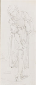 Fine Art - Work on Paper:Drawing, WILLIAM-ADOLPHE BOUGUEREAU (French, 1825-1905). Passage deRusseau, circa 1891. Graphite on paper. 6 x 3 inches (15.2 x...