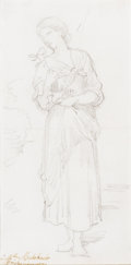 Fine Art - Work on Paper:Drawing, WILLIAM-ADOLPHE BOUGUEREAU (French, 1825-1905). Fleur desChamps, circa 1891. Graphite on paper. 6-1/2 x 3-1/4 inches(1...