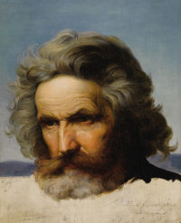KARL FRIEDRICH LESSING (German, 1808-1880) Study of a Bearded Man Oil and graphite on canvas laid on