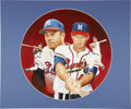 Baseball Collectibles:Others, Circa 1990 Eddie Mathews Painting by Christopher Paluso....