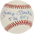 "Autographs:Baseballs, 1980's Mickey Mantle ""536 HRs"" Single Signed Baseball...."