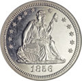 Proof Seated Quarters, 1856 25C PR67 Cameo NGC....