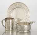 Silver Holloware, American:Bowls, AN AMERICAN SILVER CHILD'S PORRINGER, UNDERPLATE AND MUG. Tiffany& Co., New York, New York, circa 1872. Marks: TIFFANY &... (Total: 2 Items)