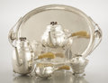 Silver Holloware, American:Tea Sets, AN AMERICAN SILVER AND IVORY FOUR-PIECE TEA AND COFFEE SET WITH TRAY. Attributed to William G. DeMatteo, Bergenfield, New Je... (Total: 5 Items)