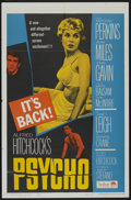"""Movie Posters:Hitchcock, Psycho (Paramount, R-1965). One Sheet (27"""" X 41""""). Hitchcock...."""
