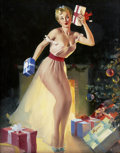 Pin-up and Glamour Art, GIL ELVGREN (American 1914 - 1980). A Christmas Eve (Waiting ForSanta), 1954. Oil on canvas. 30 x 24 in.. Signed lower ...
