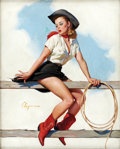Pin-up and Glamour Art, GIL ELVGREN (American 1914 - 1980). Hi-Ho, Sliver, 1969. Oilon canvas. 32 x 24 in.. Signed lower left. ...