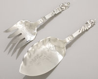 AN AMERICAN SILVER FISH SLICE AND FORK Gorham Manufacturing Co., Providence, Rhode Island, circa 1885 Marks: (l