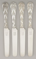 Silver Flatware, American:Tiffany, A SET OF FOUR AMERICAN SILVER BREAD AND BUTTER KNIVES. Tiffany& Co., New York, New York, circa 1870. Marks: TIFFANY &CO.... (Total: 4 Items)