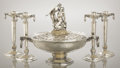 Silver Holloware, American:Center Pieces, AN AMERICAN SILVER AND IVORY CENTERPIECE AND MATCHING CANDLESTICKS: THE CROWN OF LOVE. Gorham Manufacturing Co., Pr... (Total: 5 Items)