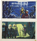 Paintings, AMERICAN ILLUSTRATOR (20th Century). Science fiction scenes, group of 2. Gouache on board. 13.5 x 26 in.. Not signed. ... (Total: 2 Items)