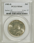 Kennedy Half Dollars: , 1985-D 50C MS66 PCGS. PCGS Population (226/81). NGC Census:(100/56). Mintage: 19,814,034. Numismedia Wsl. Price for NGC/PC...