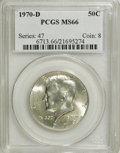 Kennedy Half Dollars: , 1970-D 50C MS66 PCGS. PCGS Population (199/2). NGC Census: (97/5).Mintage: 2,150,000. Numismedia Wsl. Price for NGC/PCGS c...