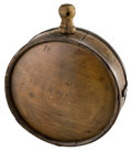 "Military & Patriotic:Civil War, Very Nice Civil War Confederate Gardner Pattern Cedar Wood Drum Canteen. 7¼"" diameter, 2¼"" thick. Perfect complete sound unt..."