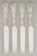 Silver & Vertu, A SET OF FOUR AMERICAN SILVER BREAD AND BUTTER KNIVES. Tiffany & Co., New York, New York, circa 1890 . Marks: TIFFANY & CO... (Total: 4 Items)