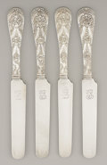 Silver Flatware, American:Tiffany, A SET OF FOUR AMERICAN SILVER BREAD AND BUTTER KNIVES. Tiffany& Co., New York, New York, circa 1890. Marks: TIFFANY &CO.... (Total: 4 Items)