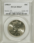 Kennedy Half Dollars: , 1998-P 50C MS67 PCGS. PCGS Population (119/6). NGC Census: (37/4).Mintage: 15,646,000. Numismedia Wsl. Price for NGC/PCGS ...