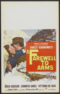 "Movie Posters:War, A Farewell to Arms (20th Century Fox, 1958). Window Card (14"" X22""). War...."