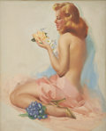 Pin-up and Glamour Art, TED WITHERS (American 1896 - 1964). Flower Girl, circa 1955.Oil on canvas. 26 x 21 in.. Signed lower right. ...