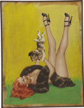 Pin-up and Glamour Art, PETER DRIBEN (American 1903 - 1975). Puppy Love, circa1949-51. Oil on board. 32 x 24.5 in.. Not signed. ...