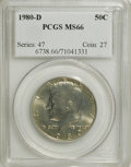 Kennedy Half Dollars: , 1980-D 50C MS66 PCGS. PCGS Population (60/35). NGC Census: (29/7).Mintage: 33,456,448. Numismedia Wsl. Price for NGC/PCGS ...