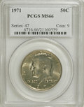 Kennedy Half Dollars: , 1971 50C MS66 PCGS. PCGS Population (81/6). NGC Census: (25/5).Mintage: 155,164,000. Numismedia Wsl. Price for NGC/PCGS co...