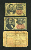 Fractional Currency:Fifth Issue, Fr. 1265 10c Fifth Issue VG, missing corner. Fr. 1309 25c FifthIssue VG, tears.. ... (Total: 3 notes)